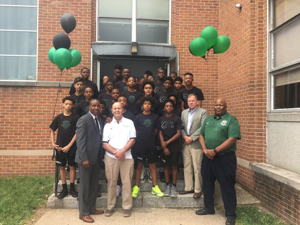Assemblyman Holley, The Patrick School board members, Coach Chavannes and some  of the students.
