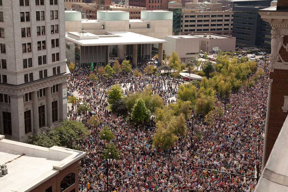 Rosa Parks Circle during the Inaugural ArtPrize in 2009