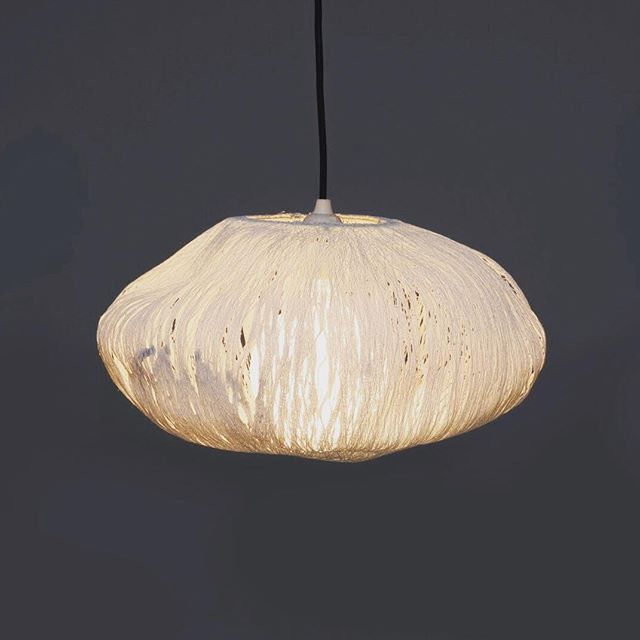 Lighting by @sammicherryman exhibited today at the Fresh Produce  Show with her beautiful project Spun. Each bespoke light is made from thread which explores the delicate yet strong material properties #ldf #lighting #thread #design #bespoke #oldspitalfieldsmarket #maker