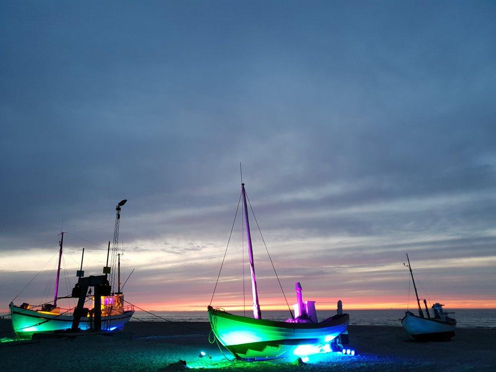 Nordlys på Havbådene ved Slettestrand