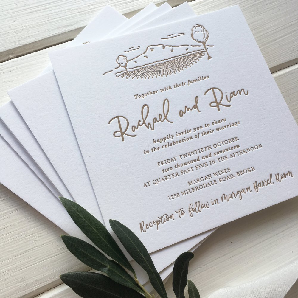 Light of Leni | Wedding Invitations | Letter pressed with hand drawn details
