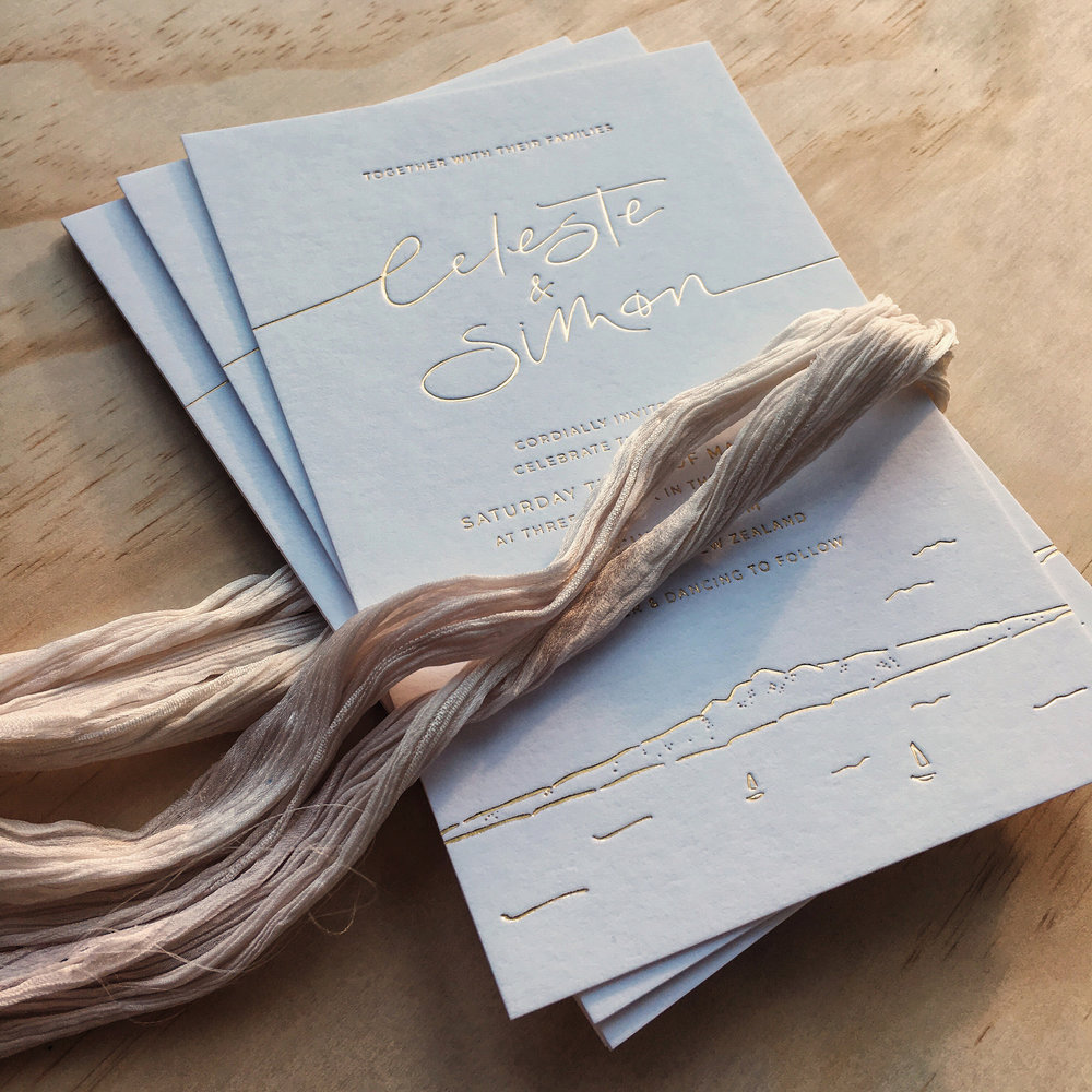 Light of Leni | Wedding Invitations | Gold Foil with hand drawn details