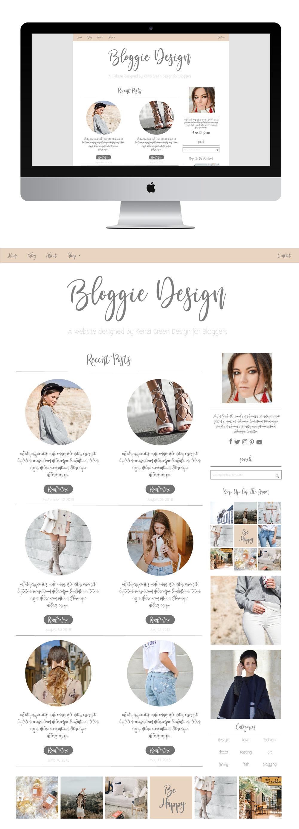 Bloggie Website Design Template by Kenzi Green Design