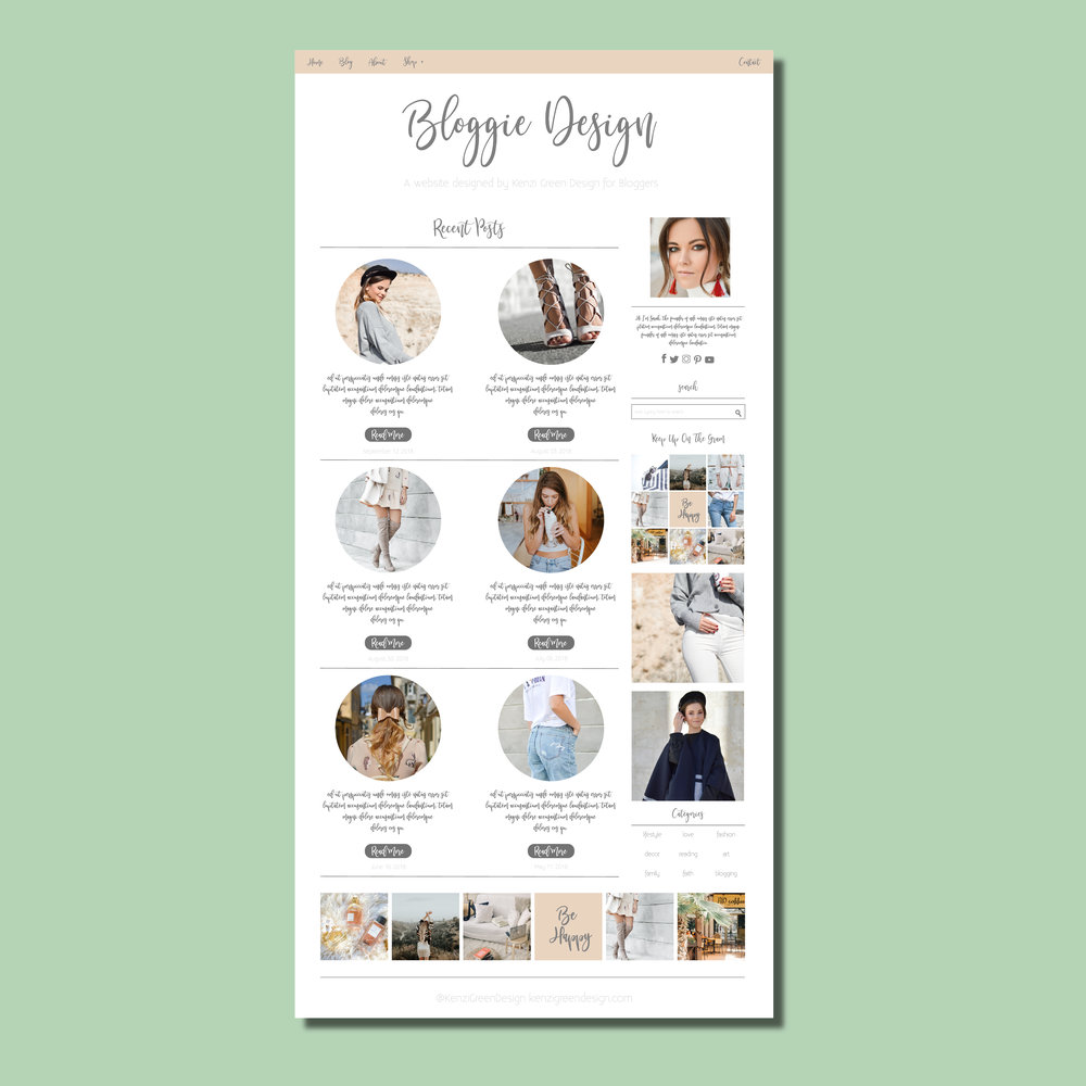 Blogger Web Design by Kenzi Green Design