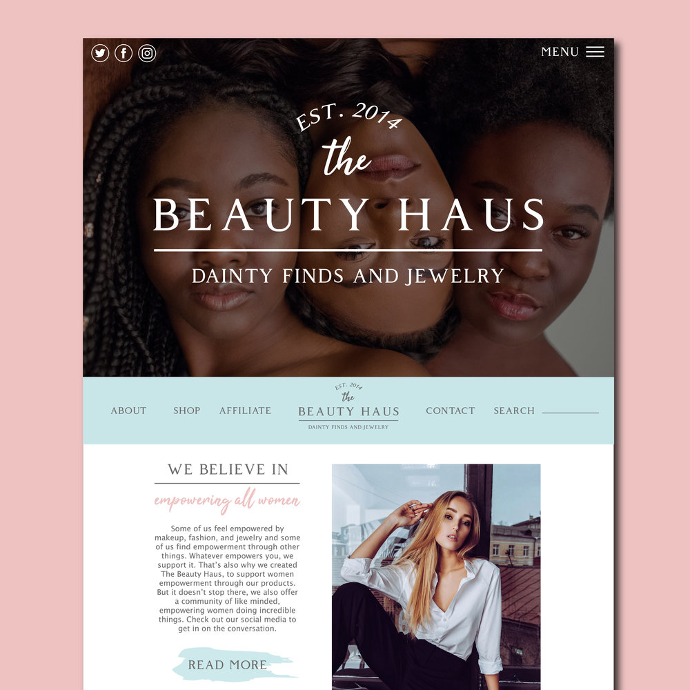 The BEAUTY HAUS Website Design by Kenzi Green Design #webdesign #websitedesigner #homepage