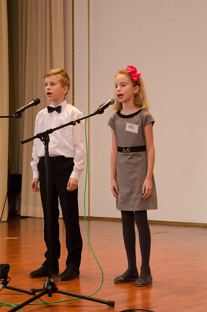 "(9–11) Maxim and Marina Timofeev sang ""In the Forest near the Fringe"" They harmonized beautifully."