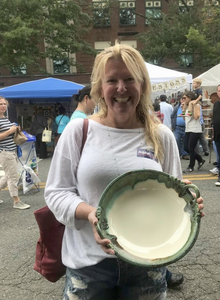 This serving dish sold at Art on the Avenue is a birthday gift for her mom