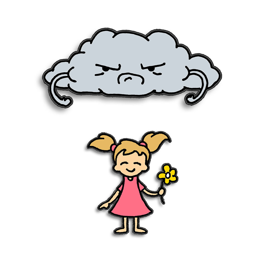 Grumpy Cloud & Girl Enamel Pin Set $15