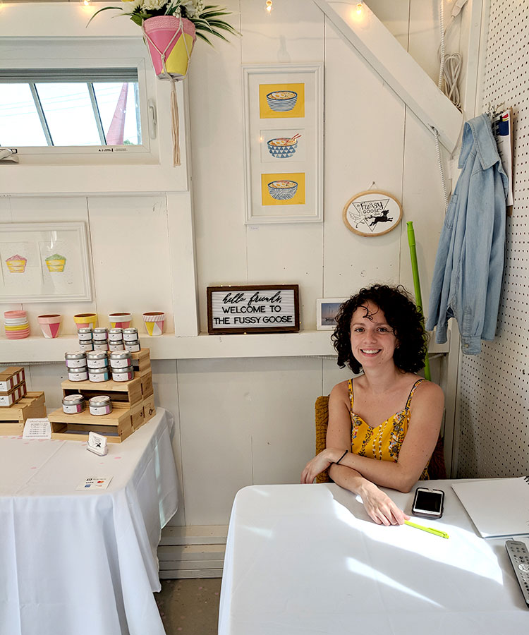 Stephanie Pina of Fussy Goose Studio transformed her shanty with her clean design sense and custom branding.