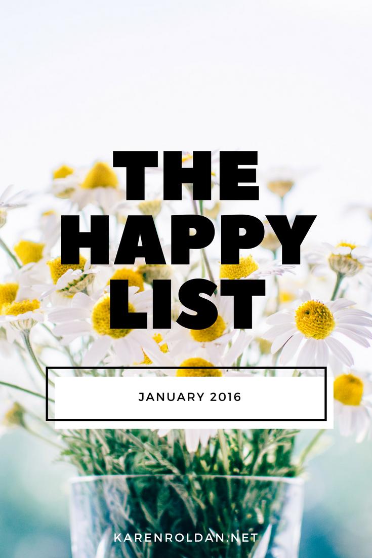 The Happy List: January 2016 1