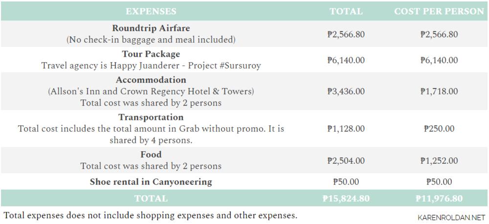 Cebu Expenses