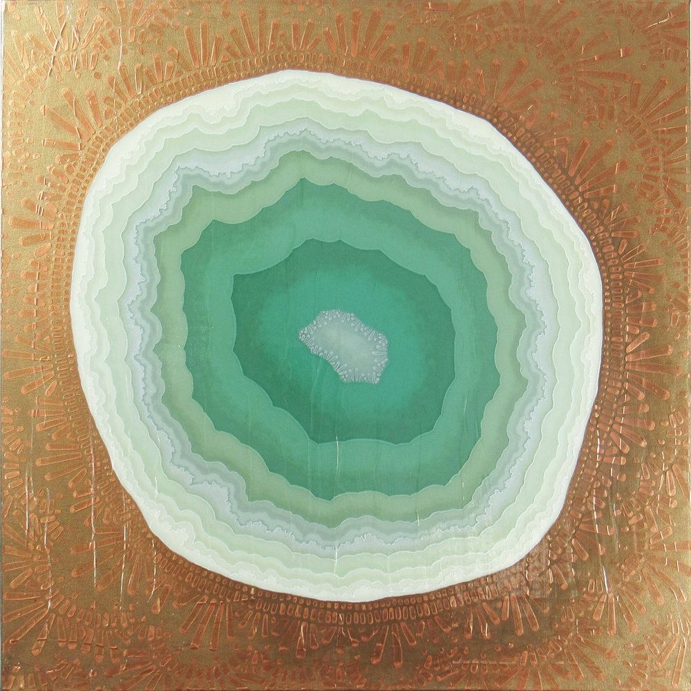 Geode IV (Feldspar) , 2017, 30x30, acrylic on canvas. available.