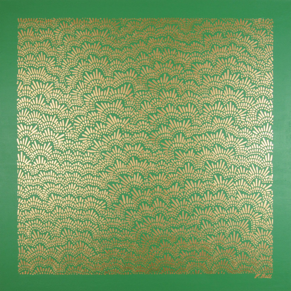 Gold & Green , 2017, 30x30, acrylic on canvas. available.