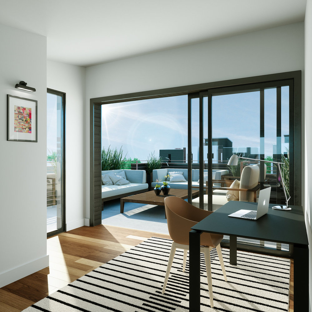 Modern design and architecture - Inside our units you'll find a carefully curated design aesthetic. Expansive dining/living room areas with sixteen foot ceilings and large windows bring sunshine to the comfort of your home.