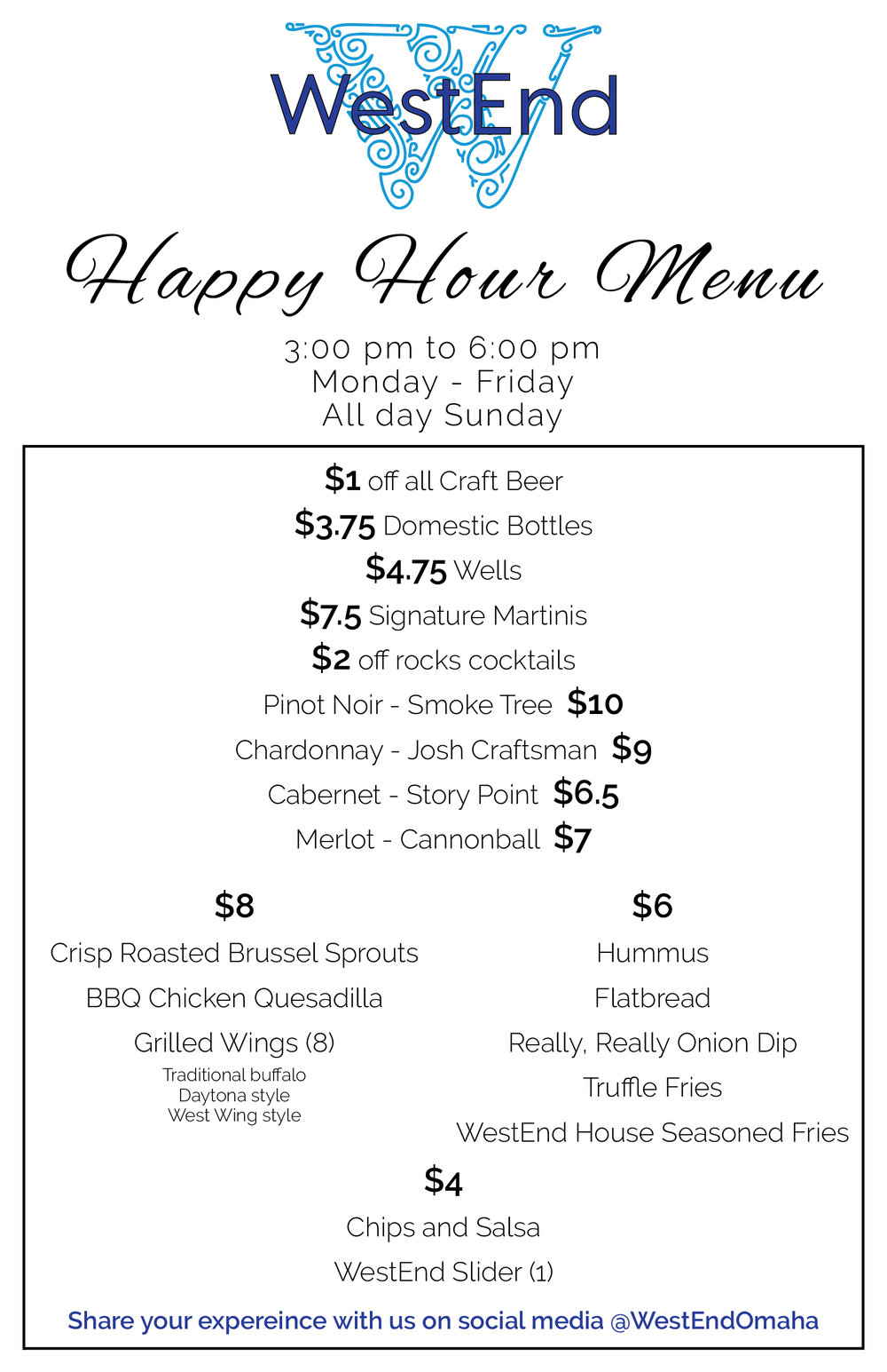 WestEnd Bar Happy Hour Menu