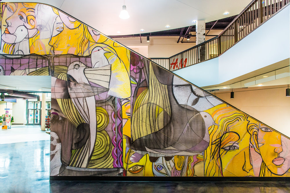 CALHOUN MELODY  This one of a kind mural is created by stitching together fragments from three different Hushcha paintings.  By  Leon Huscha  (2014)