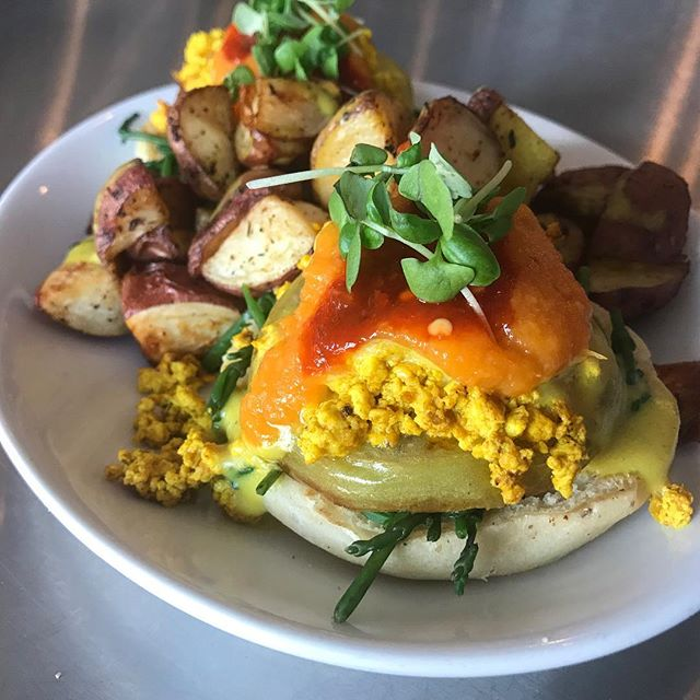 have you tried one of our Benedict's? they're served atop delicious and fluffy homemade vegan English muffins! this is the fried green tomato bennie 🙌 brunch is on 10am-3pm!