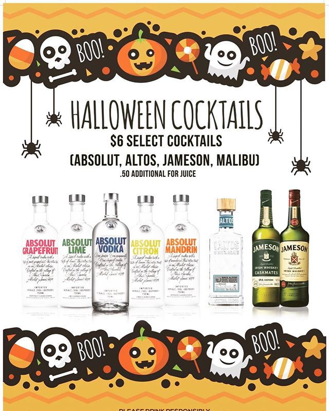 **HALLOWEEN DRINK SPECIALS*** Starting Friday this weekend until Halloween we have $6 shots available to spook your tastebuds!! 👻👻👻