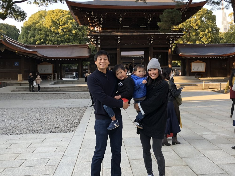 The family of four visits the Meiji Shrine in Shibuya, Tokyo.