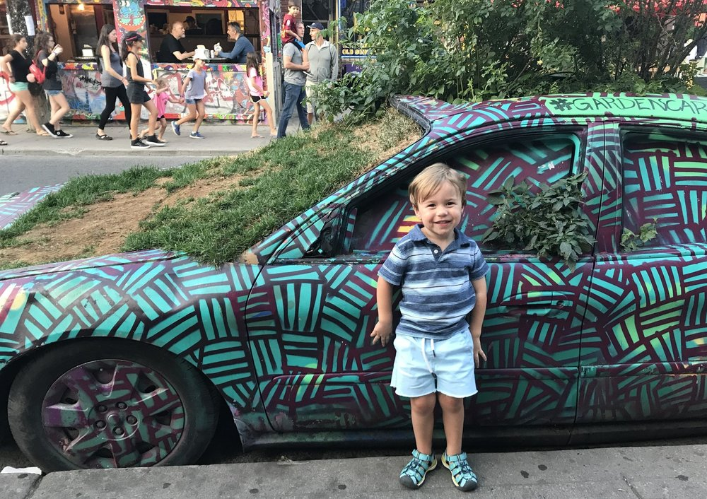 This car, the Garden Car in Kensington Market, Toronto, was interesting. Unfortunately it wasn't for rent.