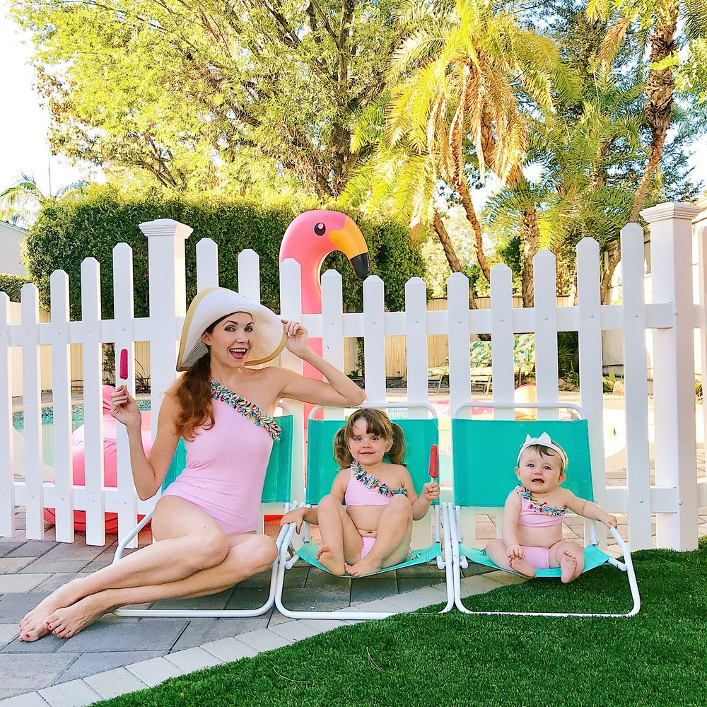 "Smile for the pop : Stylist Rosie Maxhimer with her two daughters Annabelle and Josephine. ""I'm a sucker for matching whether or not the camera is involved, but it also happens to 'set the stage' for pictures."""