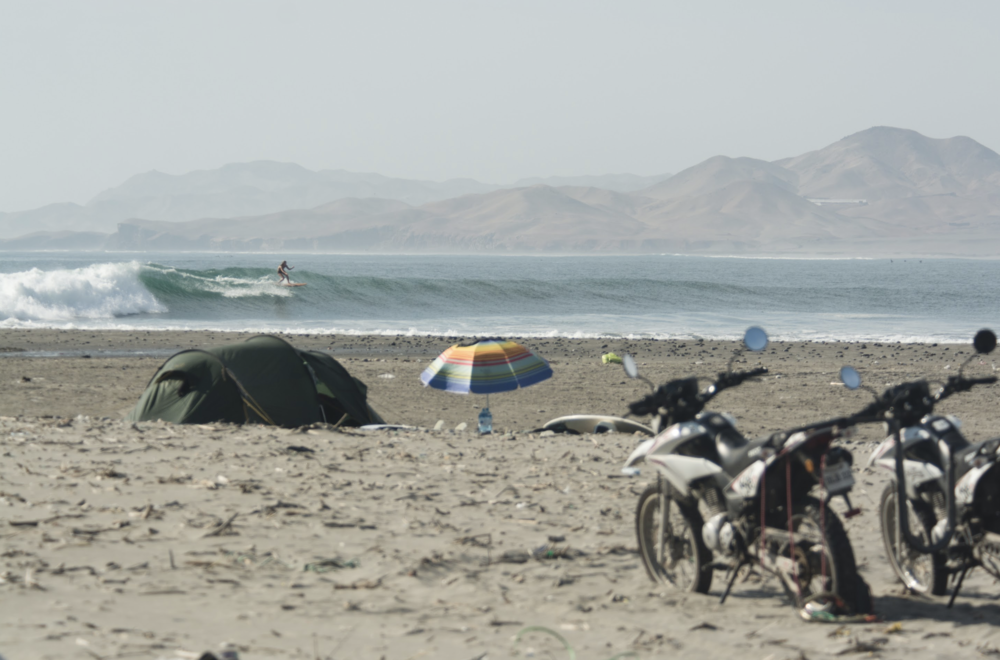 Camping and surfing in Peru (the wave from the film Given)