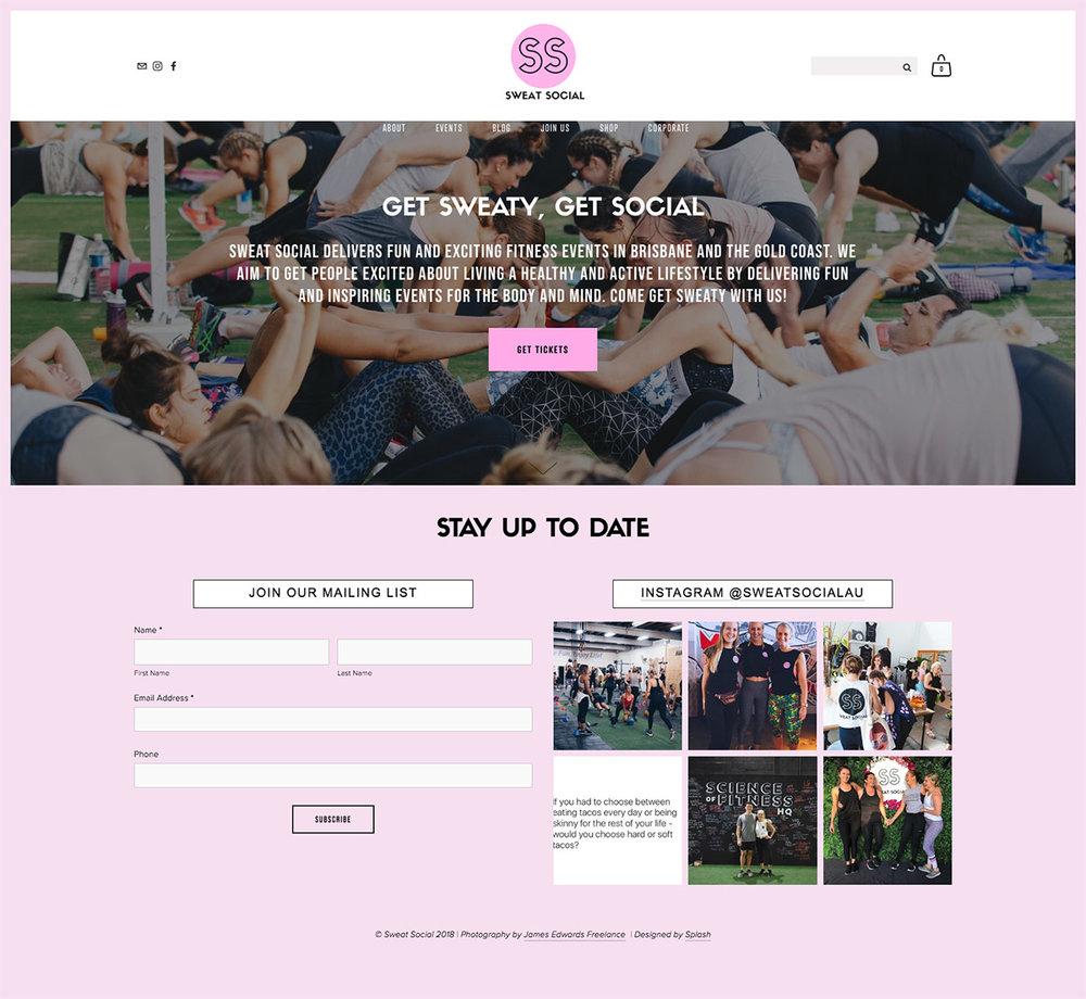 Sweat Social Website preview
