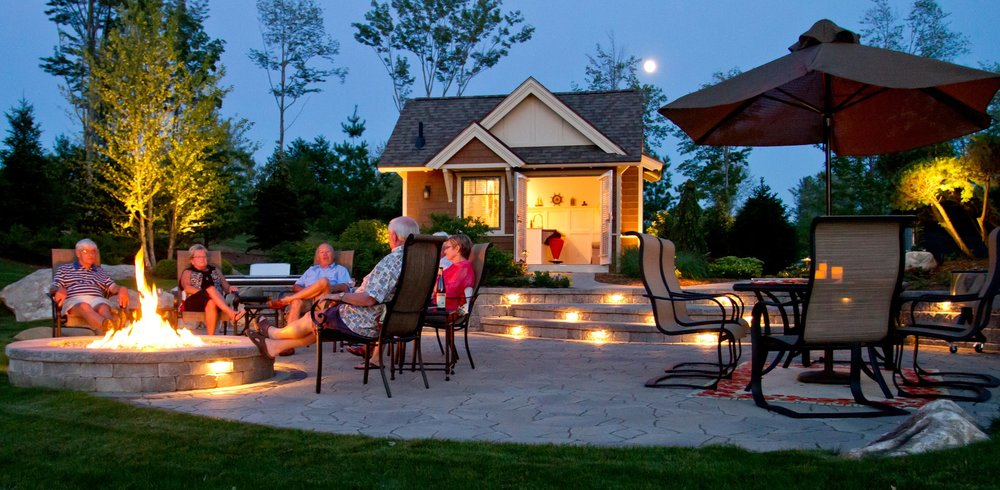 Outdoor fireplace and outdoor lighting in West Bloomfield Township MI