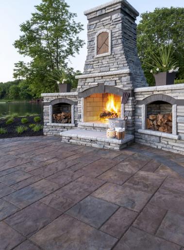 Outdoor Fireplace Landscape Design Driveway Patio Concrete