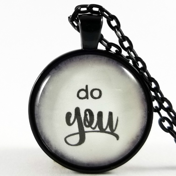 Do You Gift Do You Quote Necklace Glass Pendant Free Gift Box Encouraging Words Be Yourself Gift Ideas