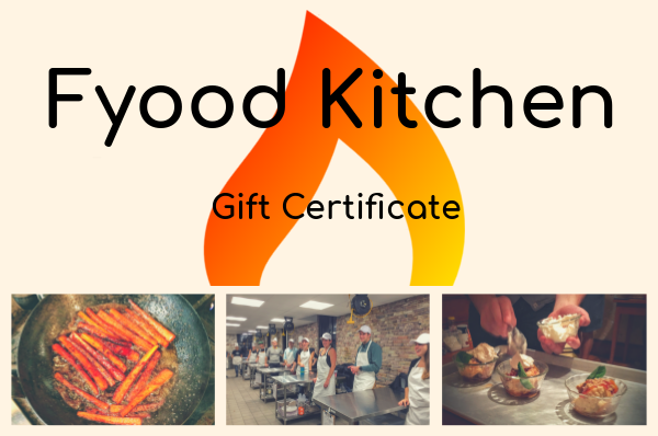 Fyood Kitchen gift certificate for creative cooking competition
