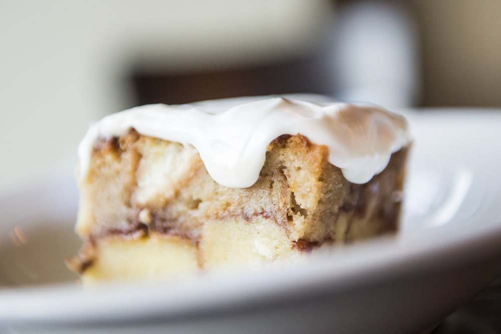 Cinnabon bread Pudding.  The most amazing bread pudding swirled with cinnamon and topped with a cream cheese icing