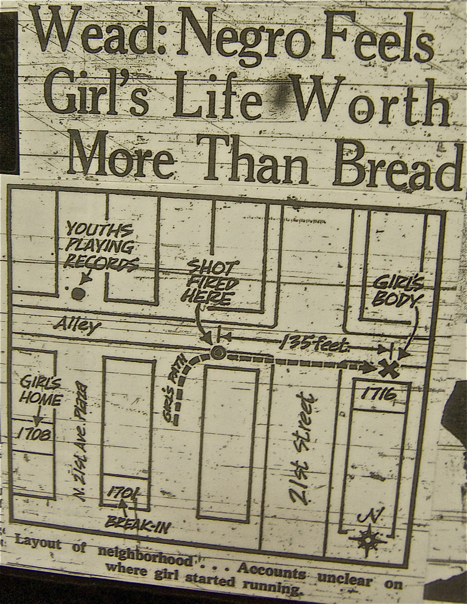 A clipping from a local newspaper at the time showing the places where the incidents happened,  courtesy of the UNL History Harvest; North Omaha History