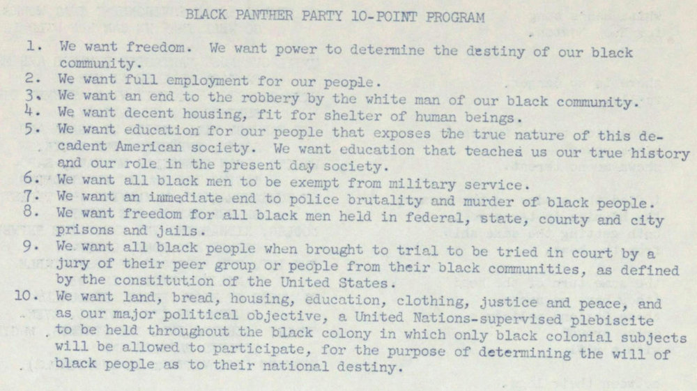 Black Panther Party Ten-Point Program
