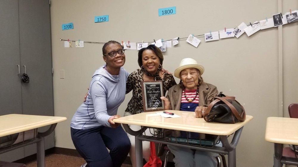 Juanita Johnson, left, with Cecilia Creighton of YouTurn honoring Longschool neighbor Sarah Rountree.