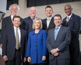 Omaha City Council.  From left, back : Rich Pahls, Chris Jerram, Vinny Palermo, Ben Gray.  From front:  Pete Festersen, Amie Melton, Brinker Harding.