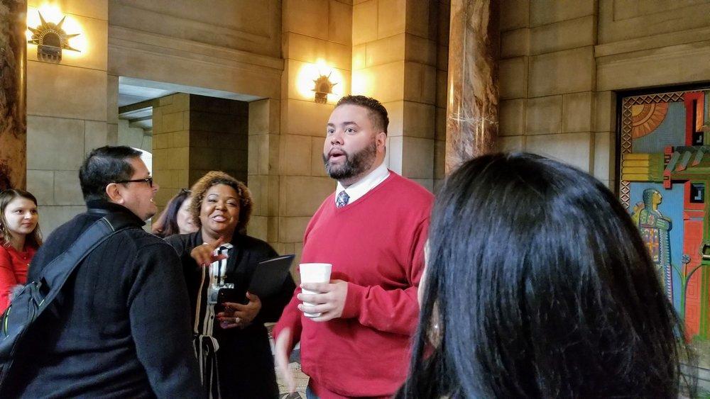 Aid Precious McKesson and Senator Justin Wayne at Black and Brown Legislative Day in February