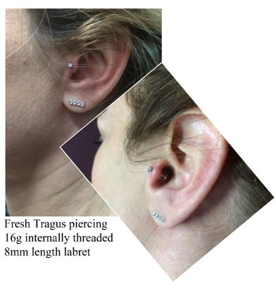 Tragus piercing - $50includes jewellery and aftercare