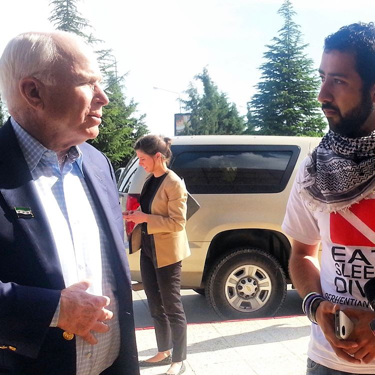 John McCain and Executive Director, Mouaz Moustafa, on SETF facilitated and organized trip inside Syria.