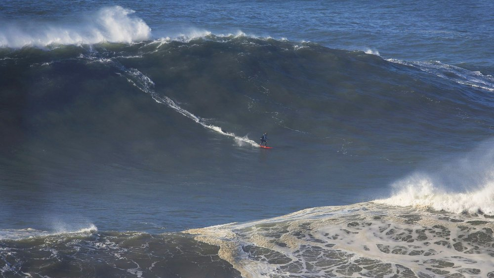 Maya Gabiera knows the value of a quality breath out at Nazare.