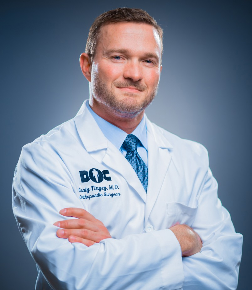 designer of The Perfect Anatomy Shoulder Pillow, Craig Tingey, MD