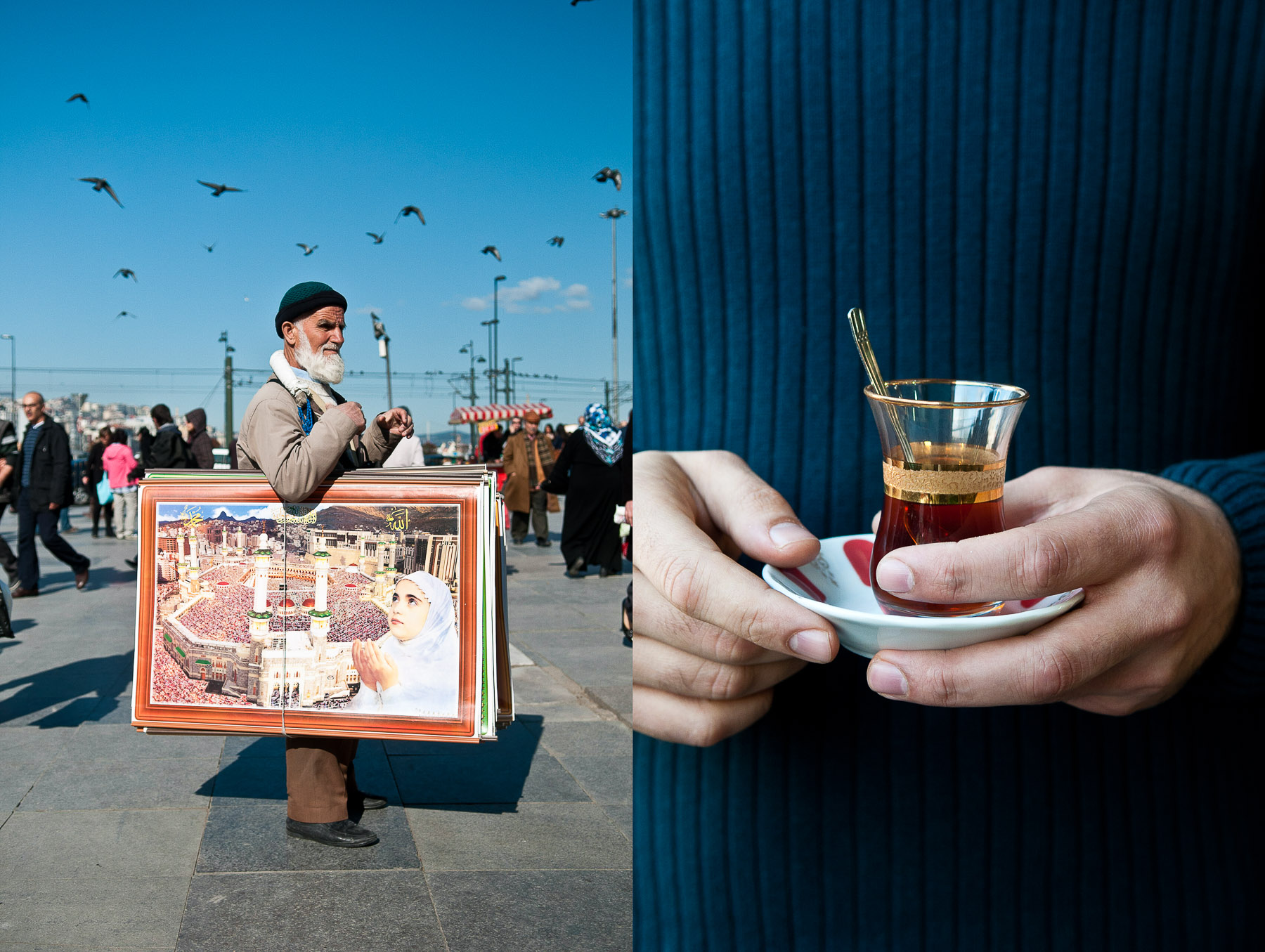 Turkish man holding a glass of partly finished Turkish tea outside the Spice Bazaar, Istanbul, Turkey.