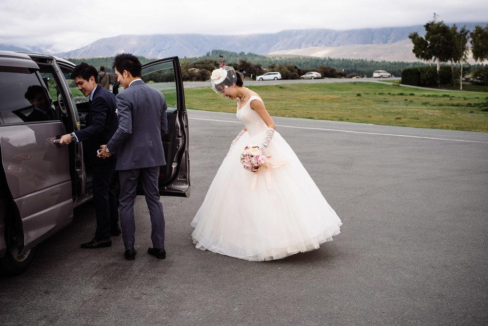 Lake Tekapo Wedding, Candice & Jenghis arriving.