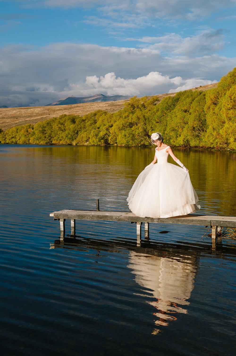 Lake Tekapo Wedding, Candice and her wedding dress.
