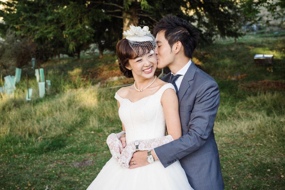 Lake Tekapo Wedding, Candice & Jenghis embracing.