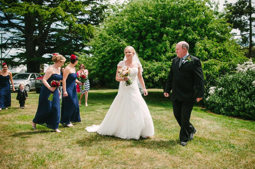 Farm wedding, Christchurch, Nicola & father on her wedding day.