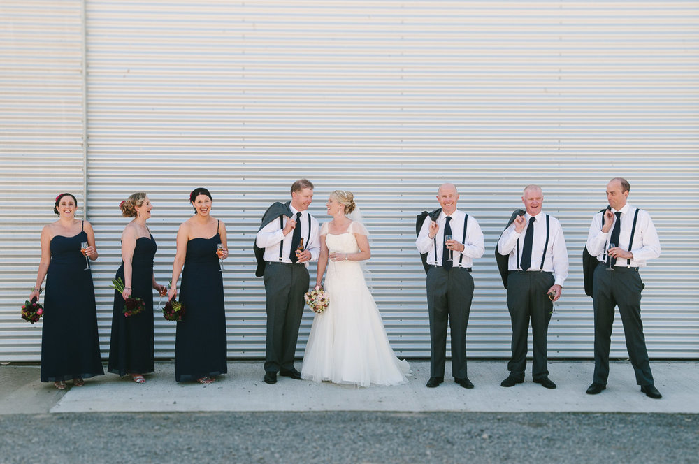Farm wedding, St Mary's Leeston, Nicola & Nathan and bridal party.