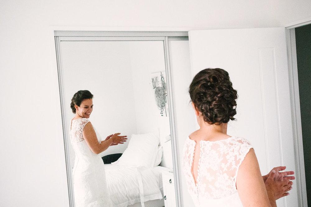 Jodie getting ready, wedding day