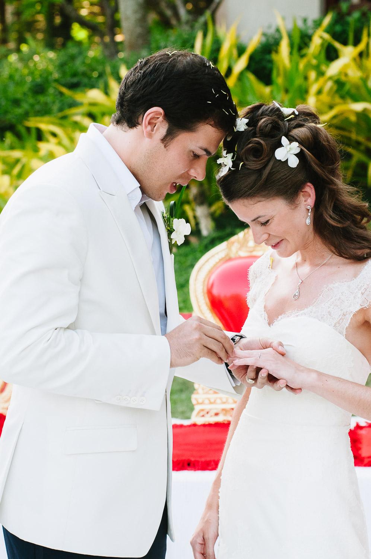 Four Seasons Resort Chiang Mai Wedding, Katie & Tim exchange rings.