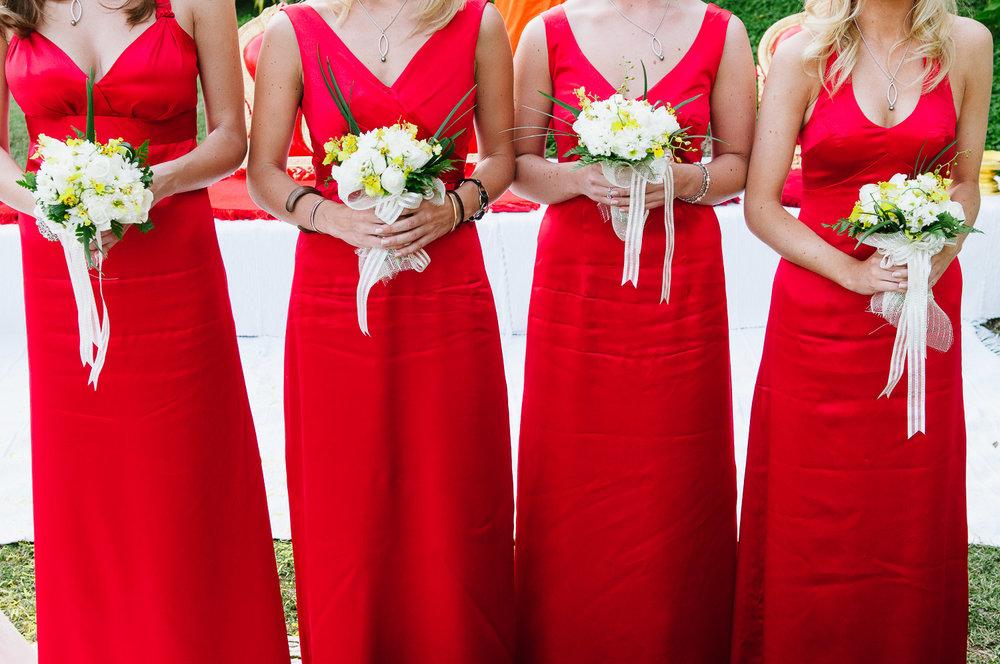 Four Seasons Resort Chiang Mai Wedding, red bridesmaid dresses.